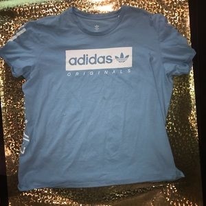 Adidas T-shirt in a pretty light blue color. 2XL